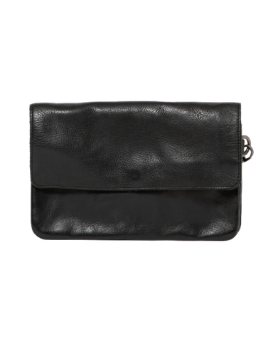 STITCH & HIDE WASHED LEATHER MUNICH POUCH BLACK