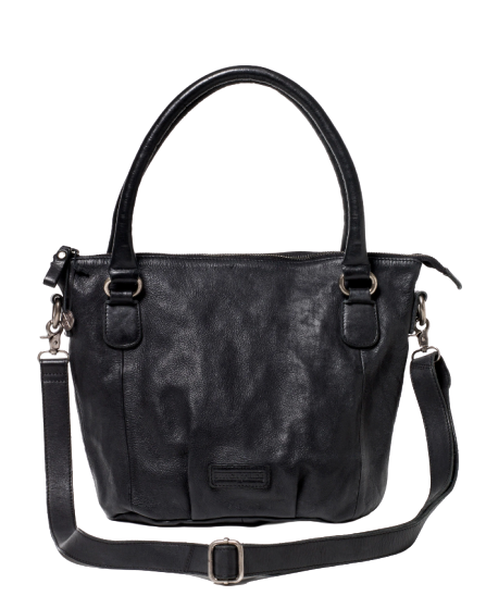 STITCH & HIDE WASHED LEATHER SANTA MONICA SHOULDER CROSSBODY BAG BLACK - FREE WALLET POUCH