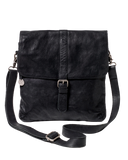 STITCH & HIDE WASHED LEATHER BERLIN REPORTER/SHOULDER BAG BLACK - FREE WALLET POUCH