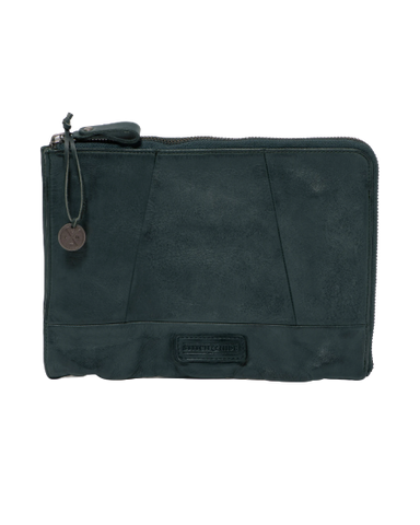 STITCH & HIDE WASHED LEATHER MALIBU CLUTCH PETROL GREEN - FREE KEYRING