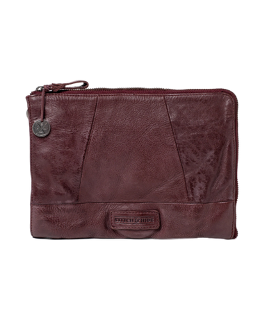 STITCH & HIDE WASHED LEATHER MALIBU CLUTCH MERLOT RED - FREE KEYRING