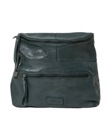 STITCH & HIDE WASHED LEATHER AVALON CROSSBODY BAG PETROL GREEN - FREE WALLET POUCH