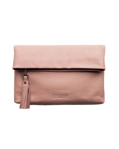 STITCH & HIDE LEATHER LILY CLUTCH DUSTY ROSE PINK - FREE KEYRING