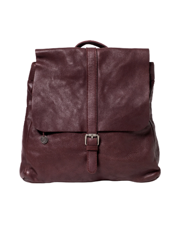 STITCH & HIDE WASHED LEATHER HAMBURG BACKPACK MERLOT RED - FREE WALLET POUCH