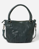 STITCH & HIDE WASHED LEATHER SANTA MONICA SHOULDER CROSSBODY BAG PETROL GREEN - FREE WALLET POUCH