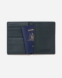 Stitch & Hide Leather Atlas Passport Holder Travel Wallet Deep Sea Blue