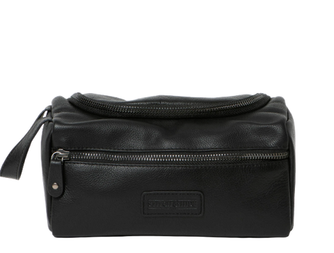Stitch & Hide Leather Jett Toiletry Bag Black