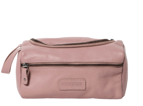 Stitch & Hide Leather Jett Toiletry Bag Dusty Pink