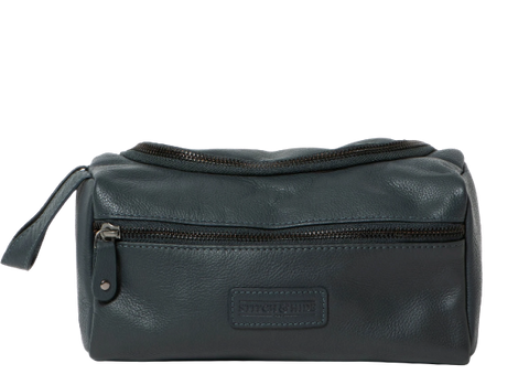 Stitch & Hide Leather Jett Toiletry Bag Deep Sea Blue