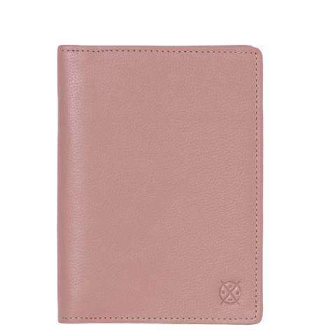 Stitch & Hide Leather Atlas Passport Holder Travel Wallet Dusty Pink