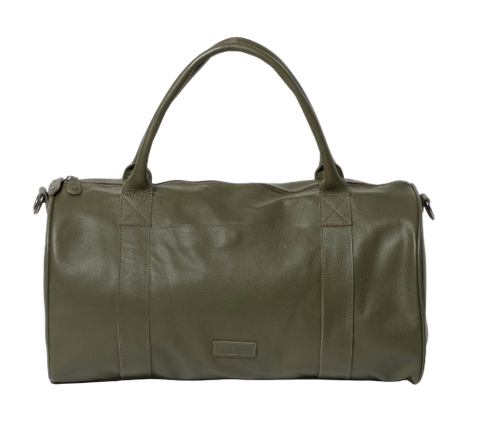Stitch & Hide Leather Globe Weekender Duffle Bag Olive Green - FREE WALLET POUCH