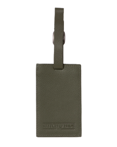 Stitch & Hide Leather Miles Luggage Tag Olive Green