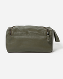 Stitch & Hide Leather Jett Toiletry Bag Olive Green
