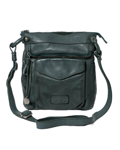 STITCH & HIDE WASHED LEATHER VENICE CROSSBODY BAG PETROL GREEN - FREE WALLET POUCH