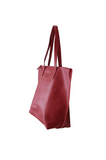 HOOPLA LEATHER LARGE ZIP TOTE BURGUNDY RED
