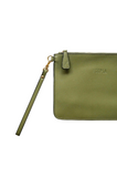 HOOPLA LEATHER CLUTCH OLIVE GREEN