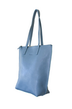 HOOPLA LEATHER SMALL ZIP TOTE BLUE/GREY