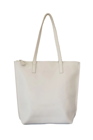 HOOPLA LEATHER SMALL ZIP TOTE CREAM