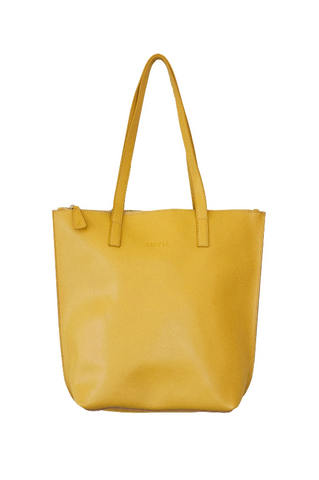 HOOPLA LEATHER SMALL ZIP TOTE MUSTARD YELLOW