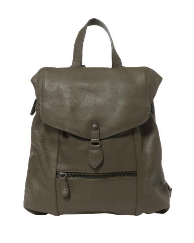Stitch & Hide Leather Willow Backpack Olive Green - FREE WALLET POUCH