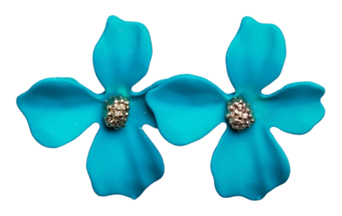 Zafino Flower Series Orchid Stud Earring Small Blue