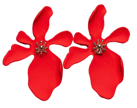 Zafino Orchid Large Earrings Red