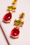 Zafino Crystal Collection Piper Drop Earrings Pink/Lemon Yellow