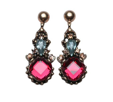 Zafino Vintage Crystal Collection Cathy Earrings Red
