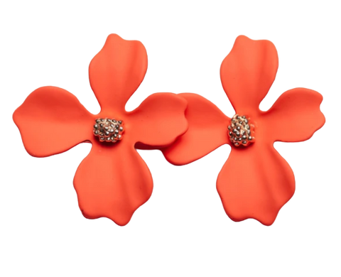 Zafino Flower Series Orchid Stud Earring Small Coral Orange