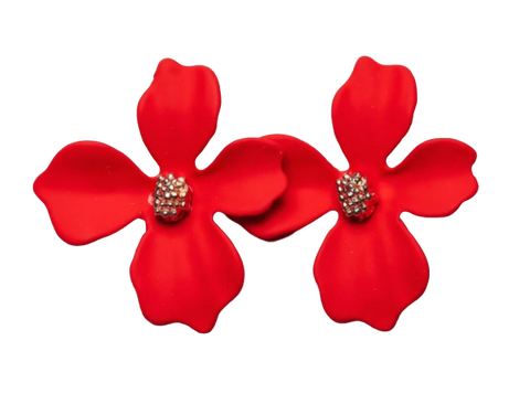 Zafino Flower Series Orchid Stud Earring Small Red