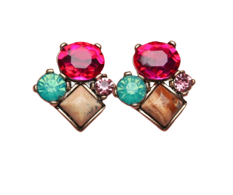 Zafino Vintage Crystal Rochelle Stud Earrings Pink