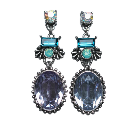 Zafino Vintage Crystal Collection Tia Earrings Lilac & Blue