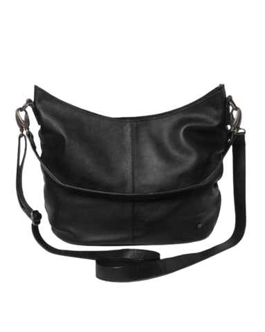 STITCH & HIDE LEATHER FRANKIE SHOULDER BAG BLACK - FREE WALLET POUCH