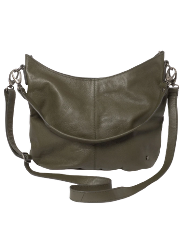 STITCH & HIDE LEATHER FRANKIE SHOULDER BAG OLIVE GREEN - FREE WALLET POUCH