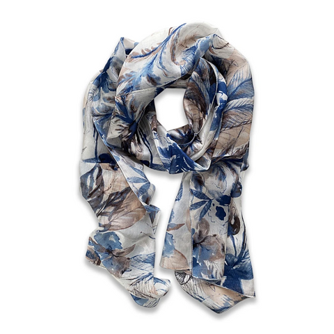 Zafino Silk Long Line Scarf - Blue Daffodil Flowers