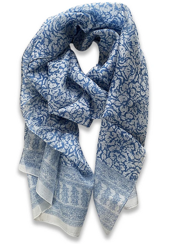 Zafino Silk Long Line Scarf - Light Blue Floral