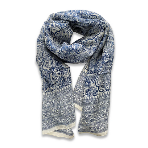 Zafino Silk Long Line Scarf - Light Blue Hibiscus