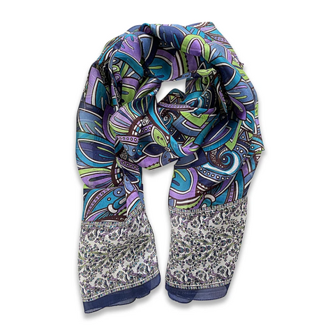 Zafino Silk Long Line Scarf - Navy Abstract