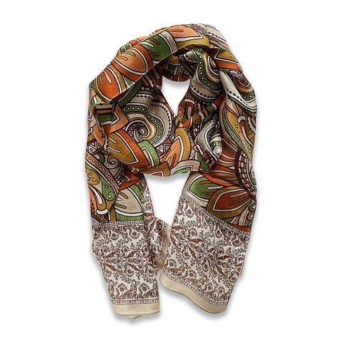 Zafino Silk Long Line Scarf - Orange Abstract