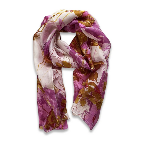 Zafino Silk Long Line Scarf - Pink Abstract Floral
