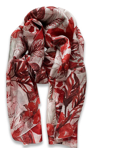 Zafino Silk Long Line Scarf - Red Floral