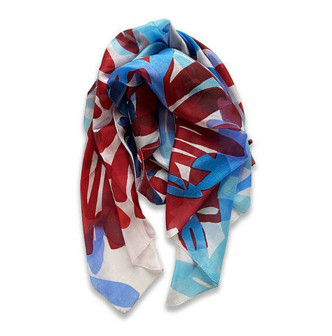 Zafino Silk Long Line Scarf - Red & Blue Graphics