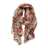 Zafino Silk Long Line Scarf - Red Ginger Flower