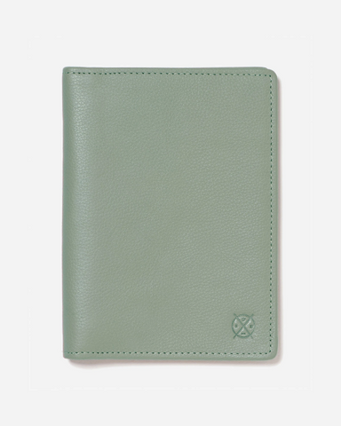 Stitch & Hide Leather Atlas Passport Holder Travel Wallet Sage Green