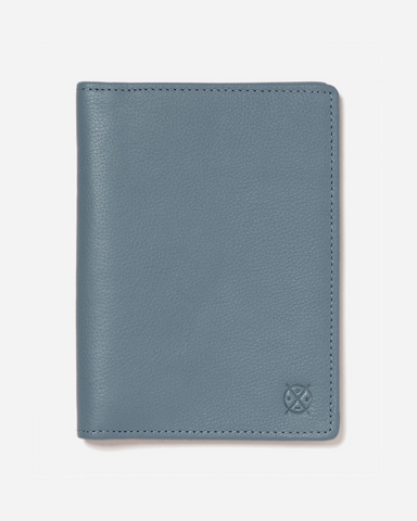 Stitch & Hide Leather Atlas Passport Holder Travel Wallet Storm Blue