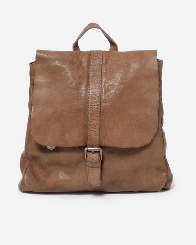 STITCH & HIDE WASHED LEATHER HAMBURG BACKPACK TAUPE - FREE WALLET POUCH