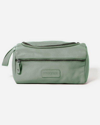 Stitch & Hide Leather Jett Toiletry Bag Sage Green