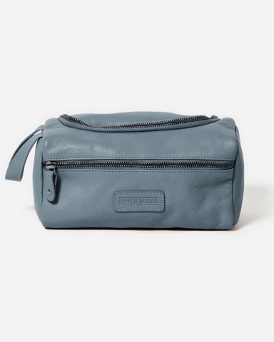 Stitch & Hide Leather Jett Toiletry Bag Storm Blue