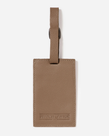 Stitch & Hide Leather Miles Luggage Tag Oak Brown