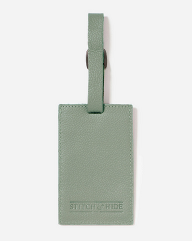Stitch & Hide Leather Miles Luggage Tag Sage Green